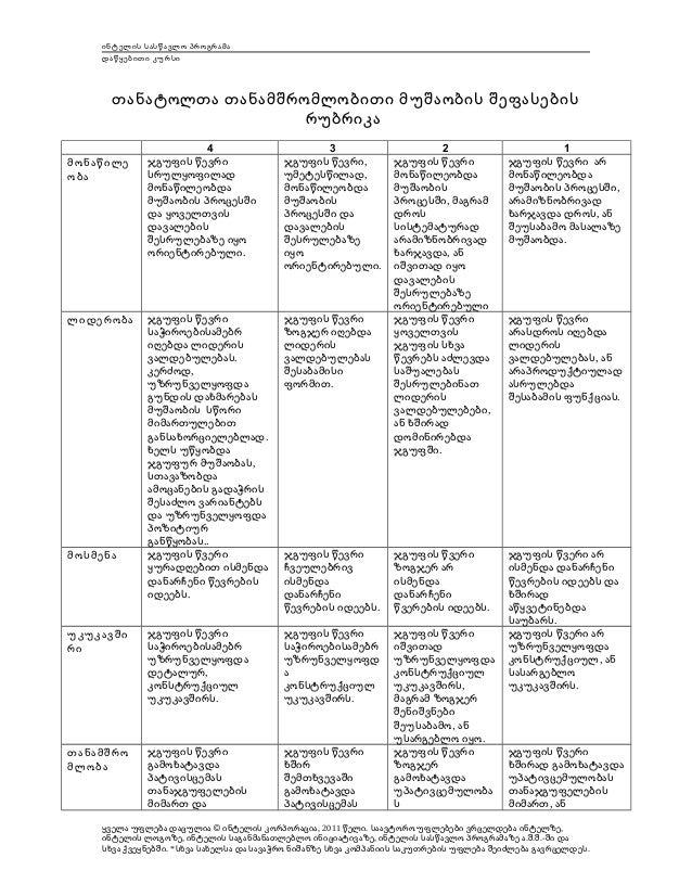 ინტელის სასწავლო პროგრამა დაწყებითი კურსი  თანატოლთა თანამშრომლობითი მუშაობის შეფასების რუბრიკა 4 ჯგუფის წევრი სრულყოფილად...