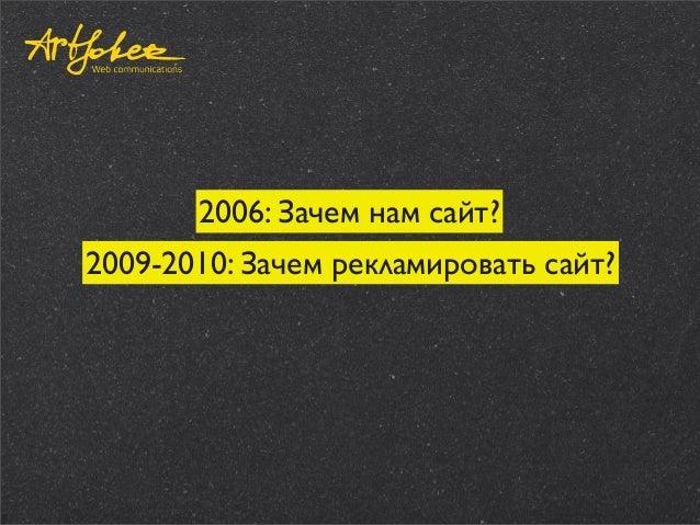 2006: Зачем нам сайт? 2009-2010: Зачем рекламировать сайт?