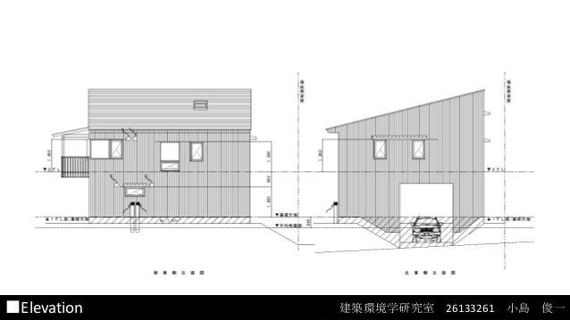 建築環境設計特論 ■Elevation  radianceを用いた光環境のシミュレーション 建築環境学研究室 26133261 小島 俊一