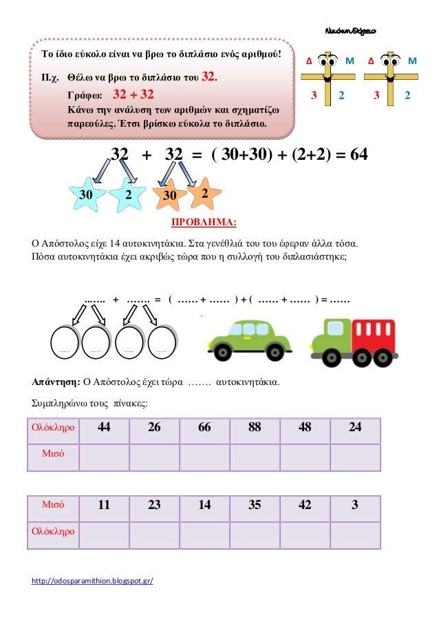 Νικάκη Θάλεια  Το ίδιο εύκολο είναι να βρω το διπλάσιο ενός αριθμού!  Δ  Μ  Δ  Μ  Π.χ. Θέλω να βρω το διπλάσιο του 32. Γρά...