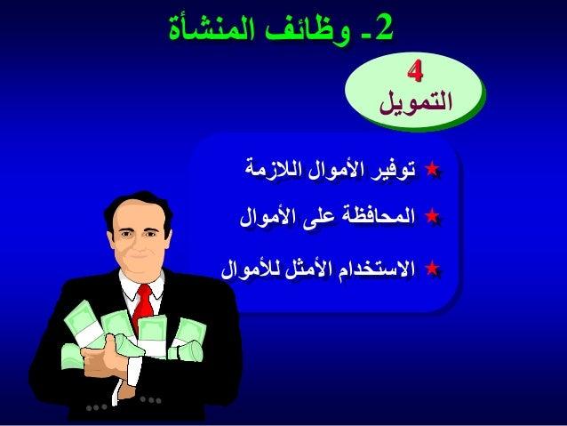 2 - وظائف المنشأة 4 التمويل توفير األموال الالزمة المحافظة على األموال  االستخدام األمثل لألموال