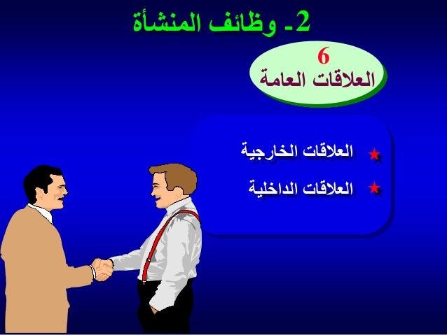 2 - وظائف المنشأة 6 العالقات العامة العالقات الخارجية العالقات الداخلية