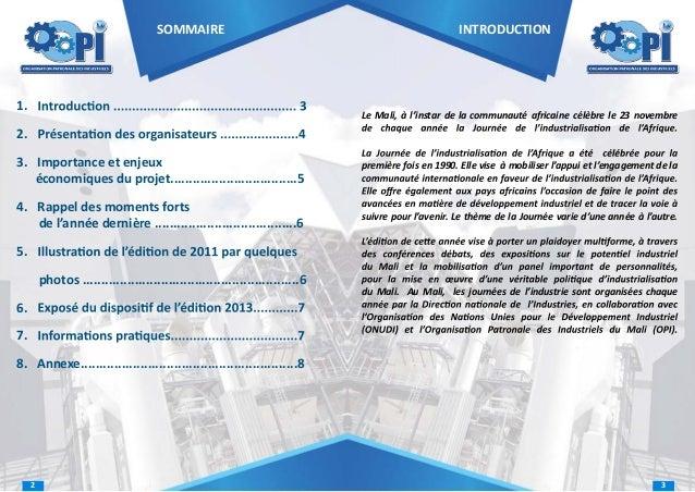 SOMMAIRE  1.  INTRODUCTION  Le Mali, à l'instar de la communauté africaine célèbre le 23 novembre  2. 3. Importance et enj...