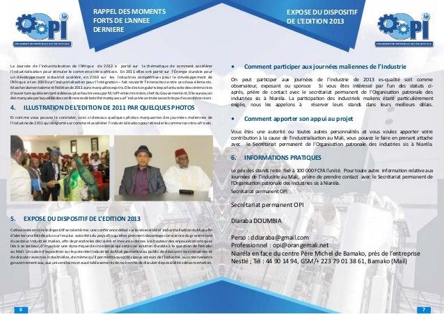 RAPPEL DES MOMENTS FORTS DE L'ANNEE DERNIERE  La Journée de l'industrialisation de l'Afrique de 2012 a porté sur la thémat...