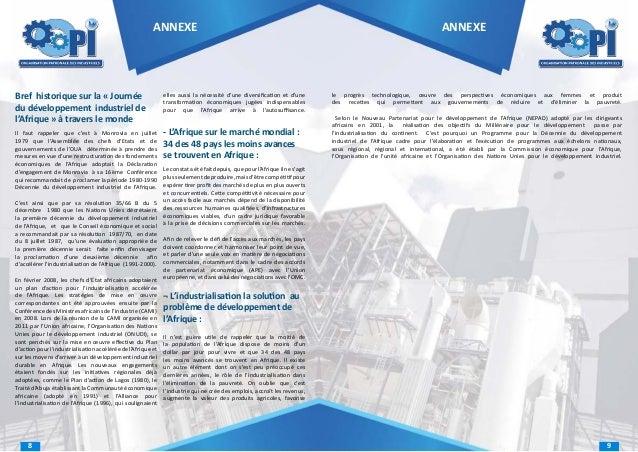 ANNEXE  Bref historique sur la « Journée du développement industriel de l'Afrique » à travers le monde  elles aussi la néc...