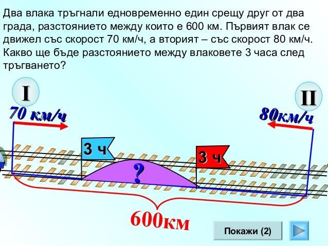 Два влака тръгнали едновременно един срещу друг от два града, разстоянието между които е 600 км. Скоростта на първия влак ...