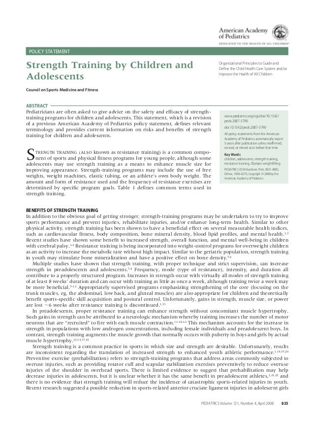 POLICY STATEMENT  Strength Training by Children and Adolescents  Organizational Principles to Guide and Define the Child He...