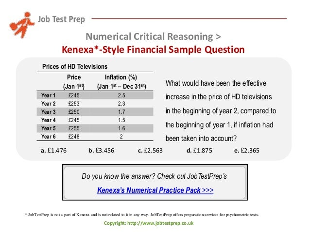 Kenexa Numerical Reasoning Test Practice With Answers Jobtestprep