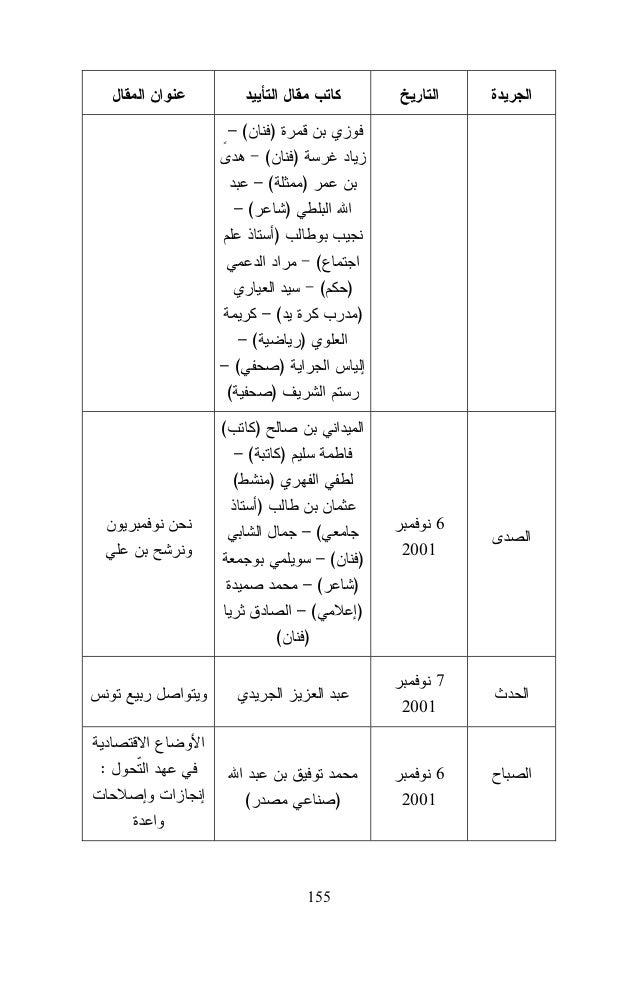 ) ( (  )  –  ) ( )  ...  (  2001  ( Ben Ali ou la quête de l'excellence  ) ) (INN (  )  2004  2001 24 2001  Le Renouveau  ...