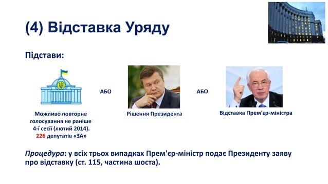 (4) Відставка Уряду Підстави:  АБО  АБО  Можливо повторне голосування не раніше 4-ї сесії (лютий 2014). 226 депутатів «ЗА»...