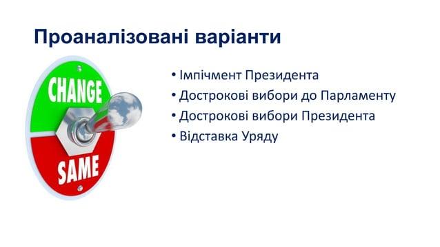 Проаналізовані варіанти • Імпічмент Президента • Дострокові вибори до Парламенту • Дострокові вибори Президента • Відставк...