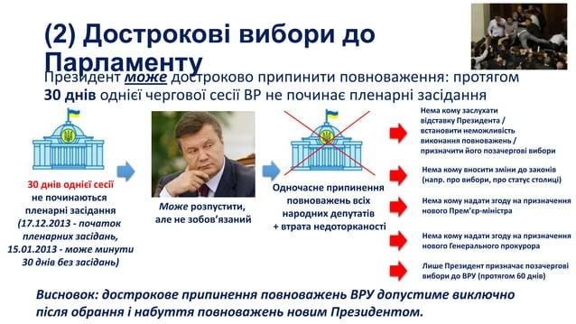 (2) Дострокові вибори до Парламенту Президент може достроково припинити повноваження: протягом 30 днів однієї чергової сес...