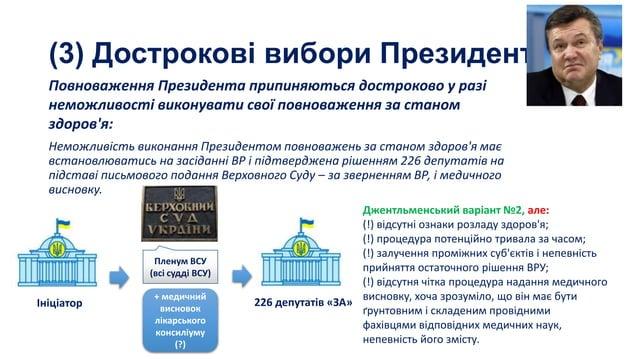 (3) Дострокові вибори Президента Повноваження Президента припиняються достроково у разі неможливості виконувати свої повно...