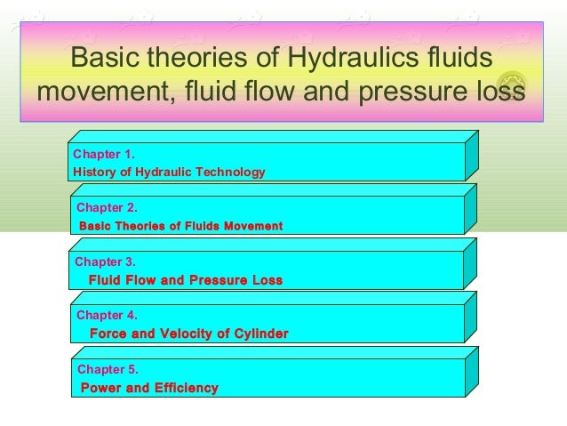Basic theories of Hydraulics fluids movement, fluid flow and pressure loss Chapter 1. History of Hydraulic Technology Chap...