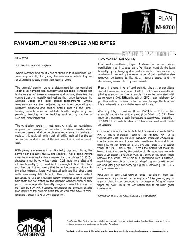 FAN VENTILATION PRINCIPLES AND RATES NEW 87:06  HOW VENTILATION WORKS  J.E. Turnbull and H.E, Huffman When livestock and p...