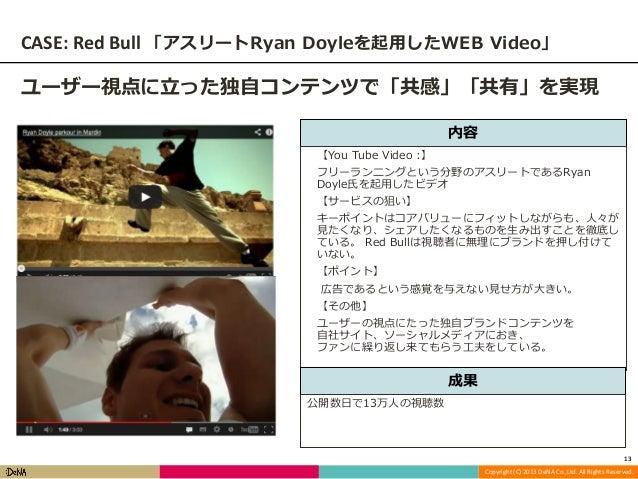 CASE: Red Bull 「アスリートRyan Doyleを起用したWEB Video」 ユーザー視点に立った独自コンテンツで「共感」「共有」を実現 内容 【You Tube Video :】 フリーランニングという分野のアスリートであるR...