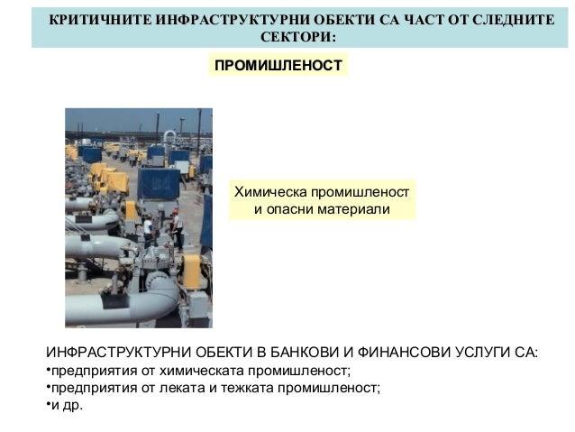 КРИТИЧНИТЕ ИНФРАСТРУКТУРНИ ОБЕКТИ СА ЧАСТ ОТ СЛЕДНИТЕ СЕКТОРИ: ПРОМИШЛЕНОСТ  Химическа промишленост и опасни материали  ИН...