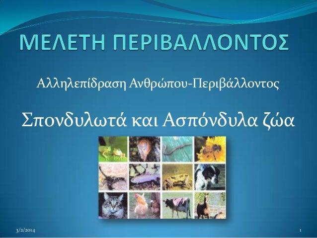 Αλληλεπίδραςη Ανθρώπου-Περιβάλλοντοσ  Σπονδυλωτά και Αςπόνδυλα ζώα  3/2/2014  1
