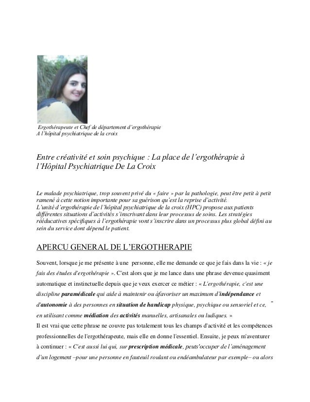 Ergothérapeute et Chef de département d'ergothérapie A l'hôpital psychiatrique de la croix  Entre créativité et soin psych...