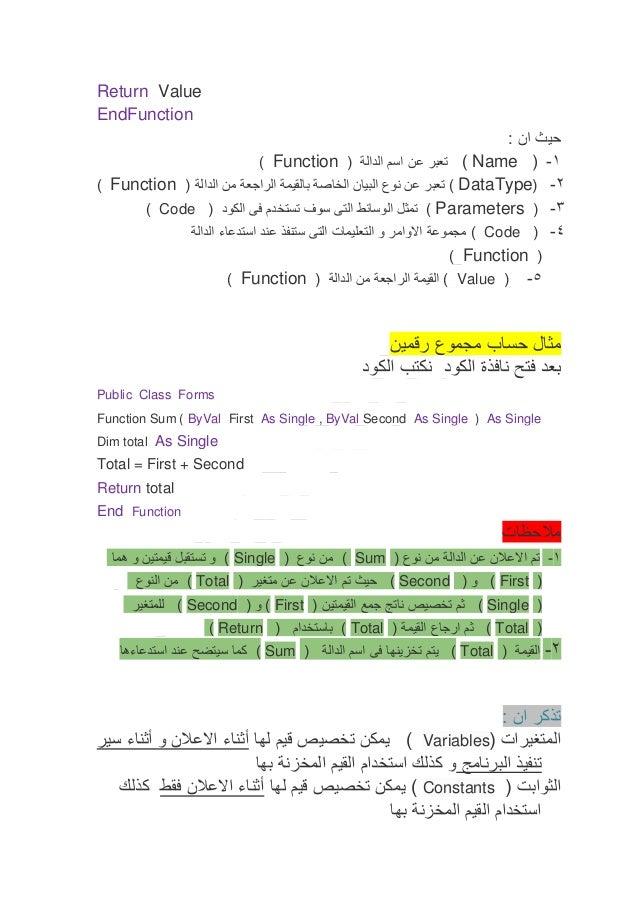 Return Value EndFunction حيث ان : 1- (  ) Nameتعبر عن اسم الدالة ( ) Function 2- ( ) DataTypeتعبر عن نو...
