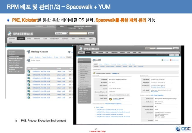 RPM 배포 및 관리(1/2) – Spacewalk + YUM PXE, Kickstart를 통한 통한 베어메탈 OS 설치, Spacewalk를 통한 패치 관리 가능  1)  PXE: Preboot Execution En...