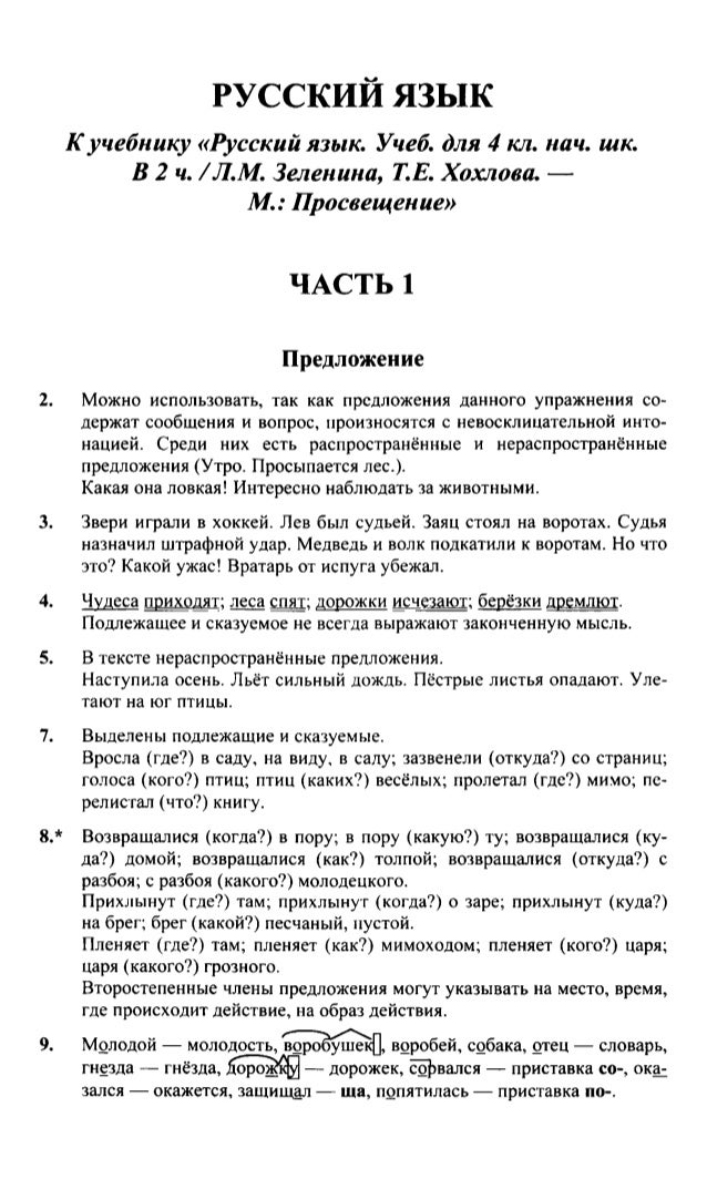 Готовые домашние задания по русскому языку 4 класс зеленина смотреть