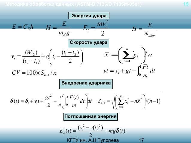 Методика обработки данных (ASTM-D 7136/D 7136M-05e1)  15  Энергия удара  E = CE h  mvi2 Ei = 2  E H= md g  H=  E mdlbm  Ск...