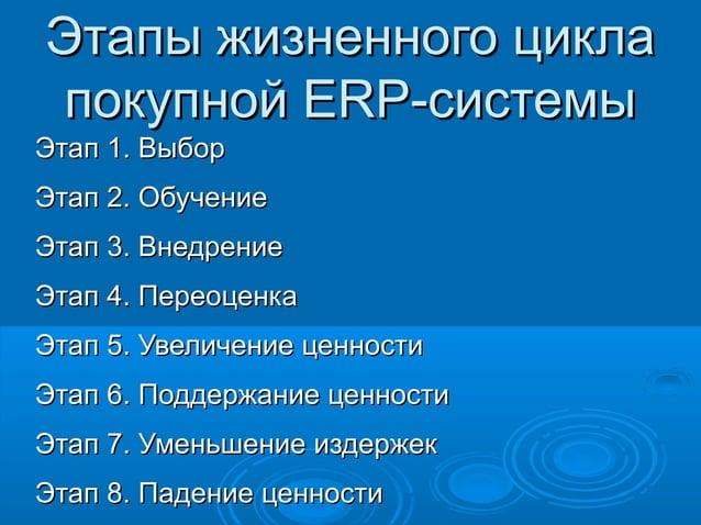 Этапы жизненного цикла покупной ERP-системы Этап 1. Выбор Этап 2. Обучение Этап 3. Внедрение Этап 4. Переоценка Этап 5. Ув...
