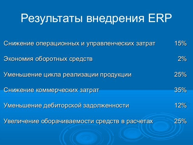 Результаты внедрения ERP Снижение операционных и управленческих затрат Экономия оборотных средств  15% 2%  Уменьшение цикл...