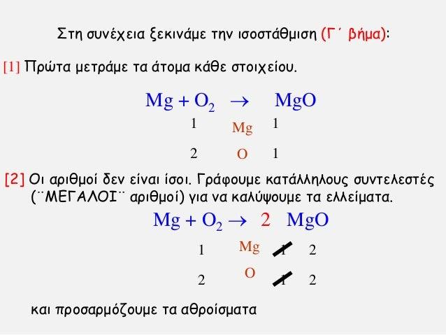 [1] Πνχηα μεηνάμε ηα άημμα θάζε ζημηπείμο. ηε ζοκέπεηα λεθηκάμε ηεκ ηζμζηάζμηζε (Γ΄ βήμα): Mg + O2  MgO Mg O 1 1 1 2 [2]...