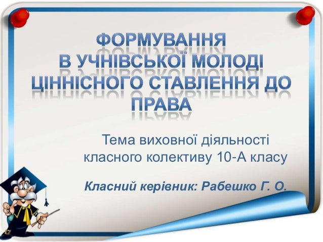 Тема виховної діяльності класного колективу 10-А класу Класний керівник: Рабешко Г. О.