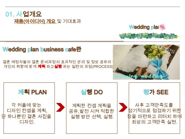 01. 사업개요 제품(아이디어) 개요 및 기대효과 Wedding plan business cafe란 결혼 예정자들의 결혼 준비과정의 효과적인 관리 및 정보 공유의 장을 마련함으로써 개인의 취향에 맞게 계획 하고실행 하는...