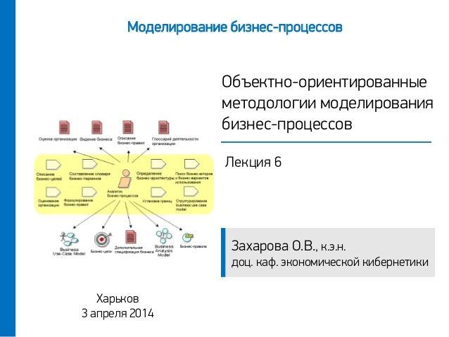 Захарова О.В., к.э.н. доц. каф. экономической кибернетики Объектно-ориентированные методологии моделирования бизнес-процес...