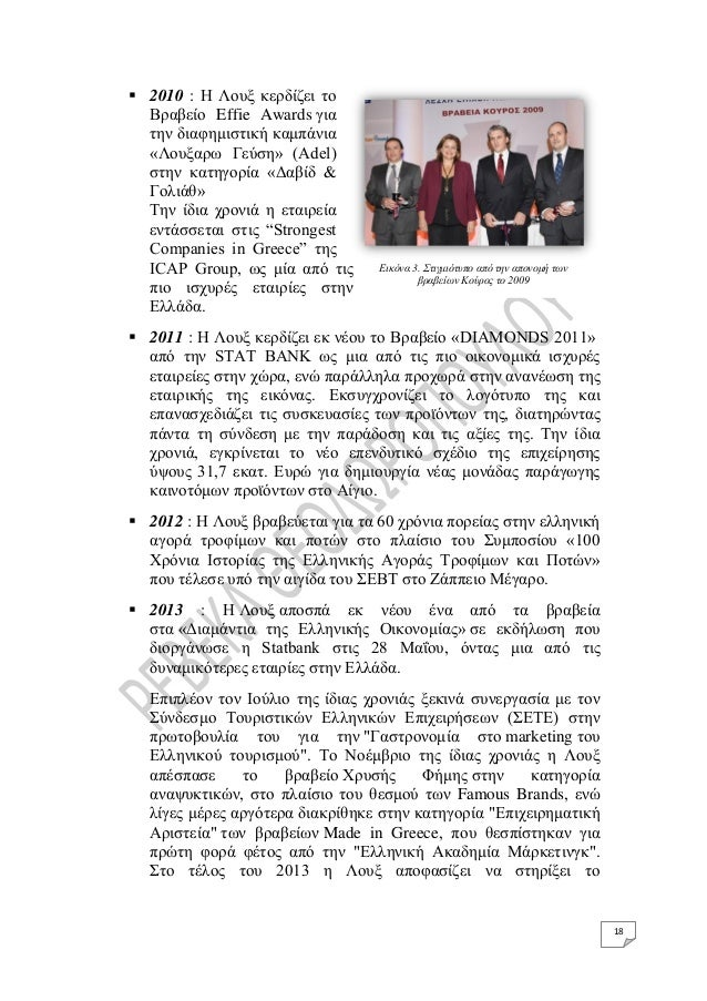 18  2010 : Η Λουξ κερδίζει το Βραβείο Effie Awards για την διαφημιστική καμπάνια «Λουξαρω Γεύση» (Adel) στην κατηγορία «Δ...