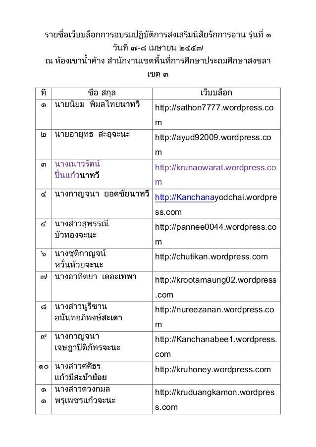 - - http://sathon7777.wordpress.co m http://ayud92009 wordpress.co m http://krunaowarat wordpress.co m http://Kanchanayodc...