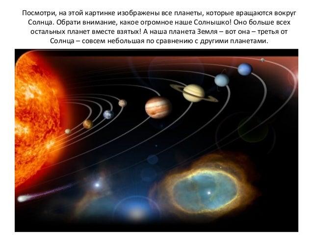 Посмотри, на этой картинке изображены все планеты, которые вращаются вокруг Солнца. Обрати внимание, какое огромное наше С...