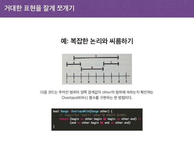 거대한 표현을 잘게 쪼개기 예: 복잡한 논리와 씨름하기 다음 코드는 주어진 범위의 양쪽 경계값이 other의 범위에 속하는지 확인하는 OverlapsWith() 함수를 구현하는 한 방법이다.