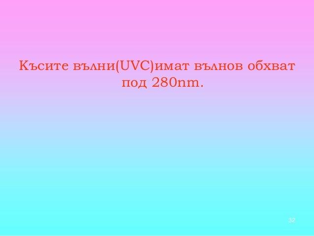 32 Късите вълни(UVС)имат вълнов обхват под 280nm.