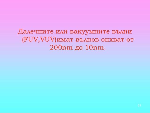 33 Далечните или вакуумните вълни (FUV,VUV)имат вълнов онхват от 200nm до 10nm.