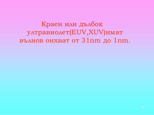 34 Краен или дълбок ултравиолет(EUV,XUV)имат вълнов онхват от 31nm до 1nm.