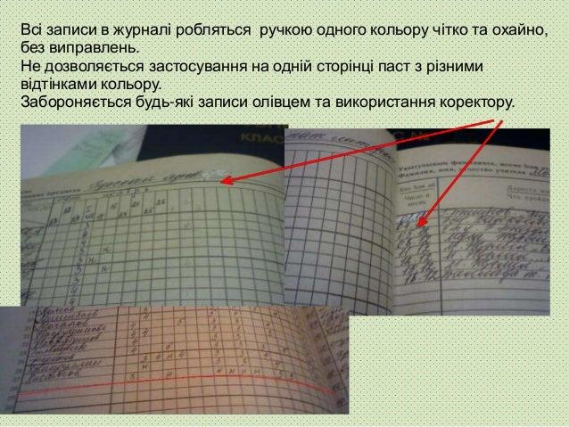 Виставлення в журналі крапок, оцінок зі знаками «мінус», «плюс», записи олівцем неприпустимі.