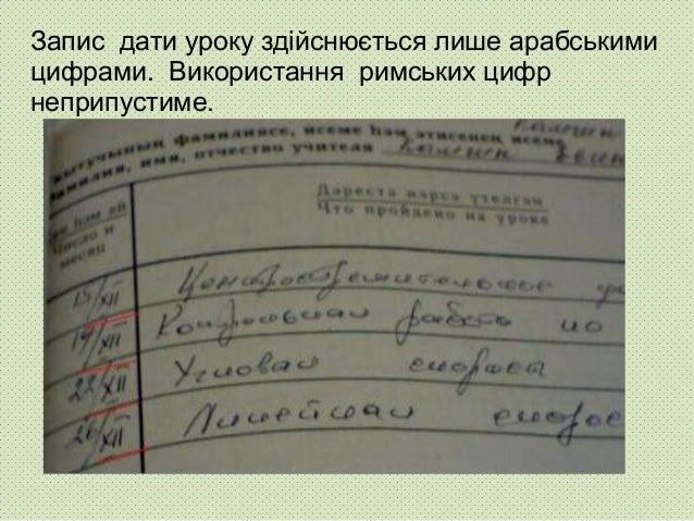 Запис дати уроку здійснюється лише арабськими цифрами. Використання римських цифр неприпустиме.