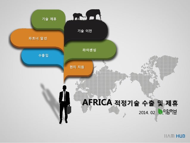 기술 제휴 수출입 파트너 알선 현지 지원 라이센싱 기술 이전 AFRICA 적정기술 수출 및 제휴 2014. 02