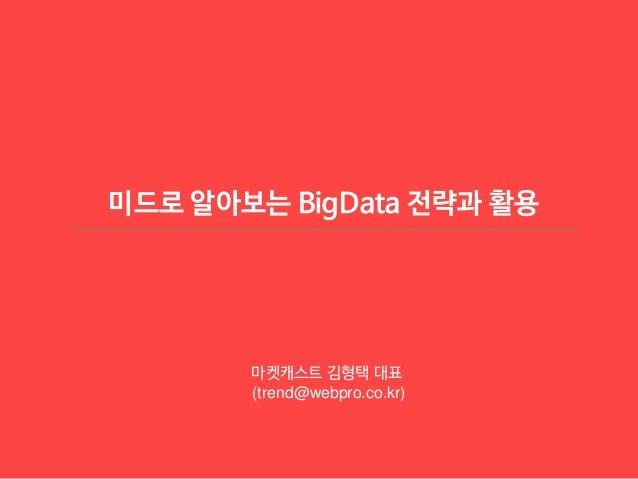 미드로 알아보는 BigData 전략과 활용 마켓캐스트 김형택 대표 (trend@webpro.co.kr)