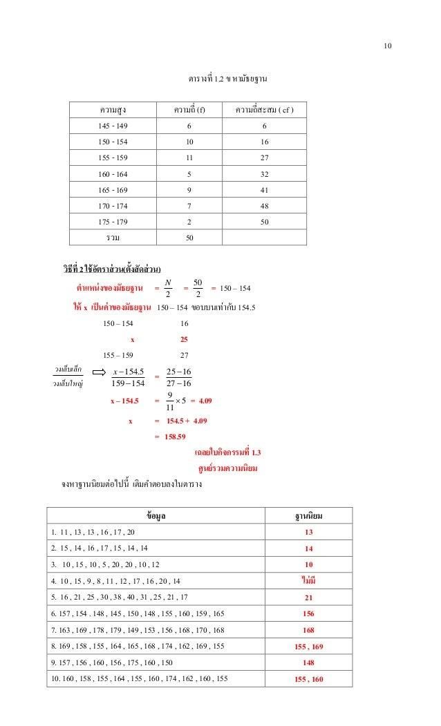 10 ตารางที่ 1.2 ข หามัธยฐาน ความสูง ความถี่ (f) ความถี่สะสม ( cf ) 145 - 149 6 6 150 - 154 10 16 155 - 159 11 27 160 - 164...