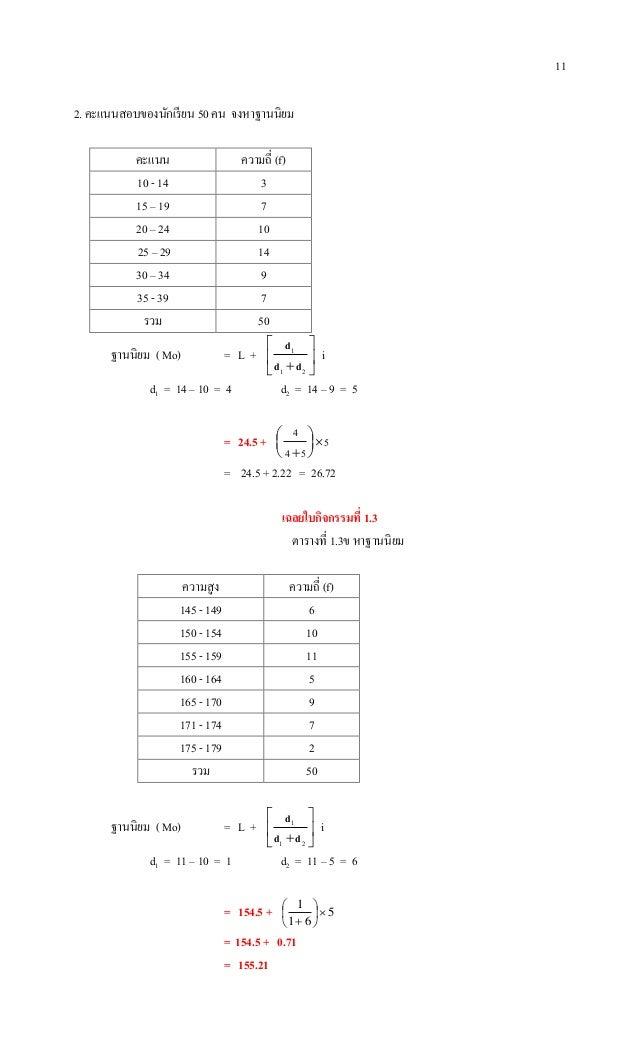 11 2. คะแนนสอบของนักเรียน 50 คน จงหาฐานนิยม คะแนน ความถี่ (f) 10 - 14 3 15 – 19 7 20 – 24 10 25 – 29 14 30 – 34 9 35 - 39 ...