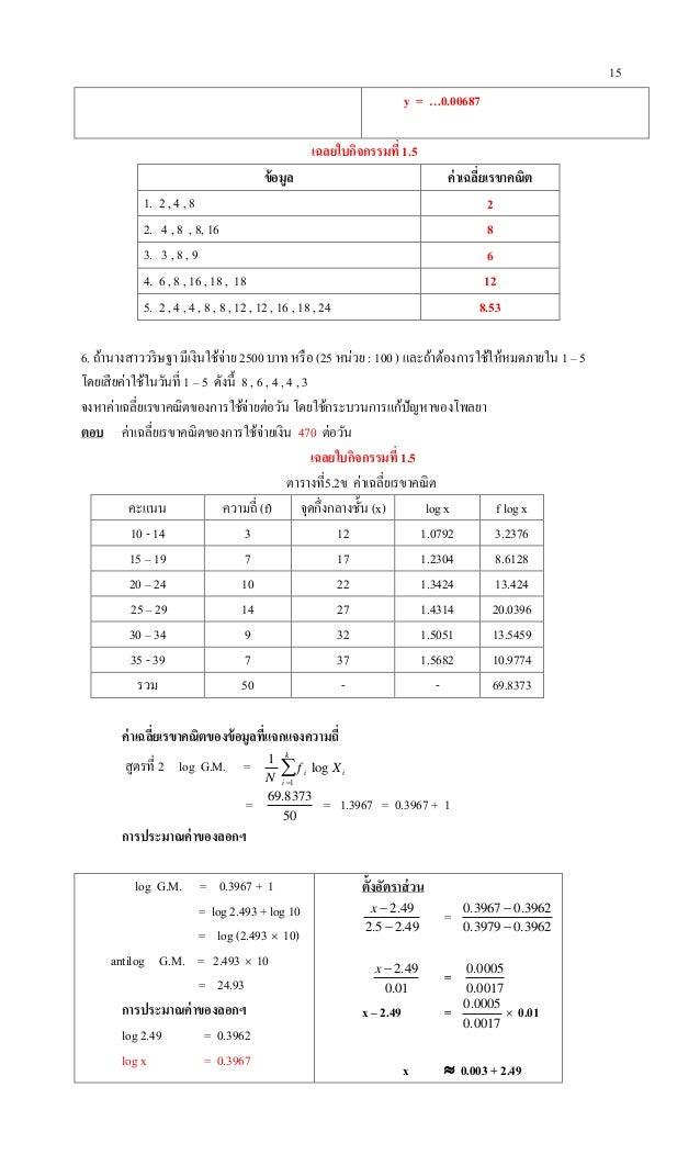 15 y = …0.00687 เฉลยใบกิจกรรมที่ 1.5 ข้อมูล ค่าเฉลี่ยเรขาคณิต 1. 2 , 4 , 8 2 2. 4 , 8 , 8, 16 8 3. 3 , 8 , 9 6 4. 6 , 8 , ...