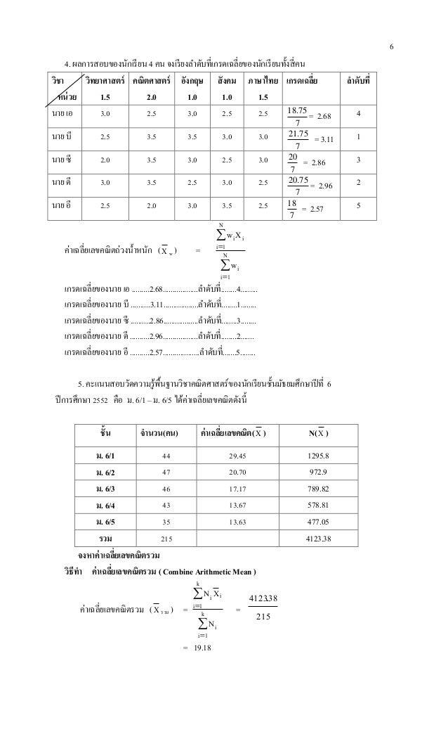 6 4. ผลการสอบของนักเรียน 4 คน จงเรียงลาดับที่เกรดเฉลี่ยของนักเรียนทั้งสี่คน วิชา หน่วย วิทยาศาสตร์ 1.5 คณิตศาสตร์ 2.0 อังก...