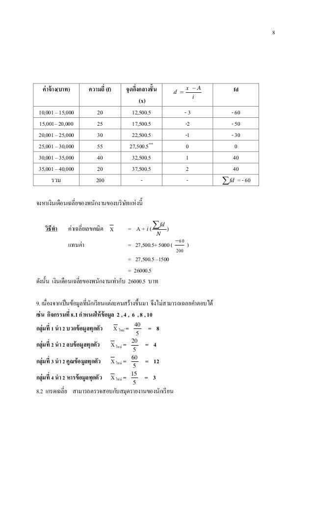 8 ค่าจ้าง(บาท) ความถี่ (f) จุดกึ่งกลางชั้น (x) i Ax d   fd 10,001 – 15,000 20 12,500.5 - 3 - 60 15,001– 20,000 25 17,500...