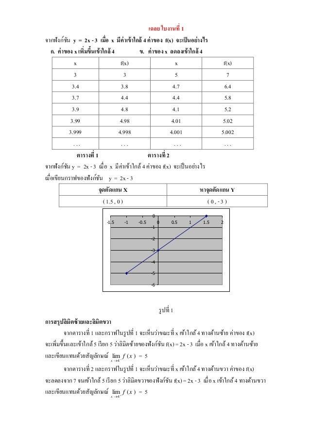 เฉลย ใบงานที่ 1 จากฟังก์ชัน y = 2x - 3 เมื่อ x มีค่าเข้าใกล้ 4 ค่าของ f(x) จะเป็นอย่างไร ก. ค่าของ x เพิ่มขึ้นเข้าใกล้ 4 ข...